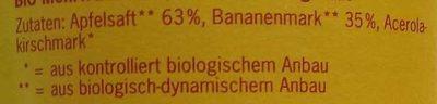 Apfel Banane - Inhaltsstoffe