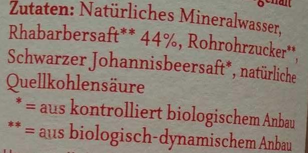 Rhabarber Schorle - Ingrédients