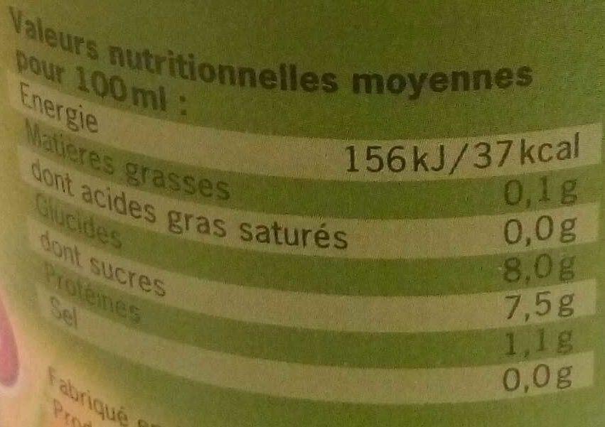 100% pur jus de betteraves rouges lactofermenté - Informations nutritionnelles - fr