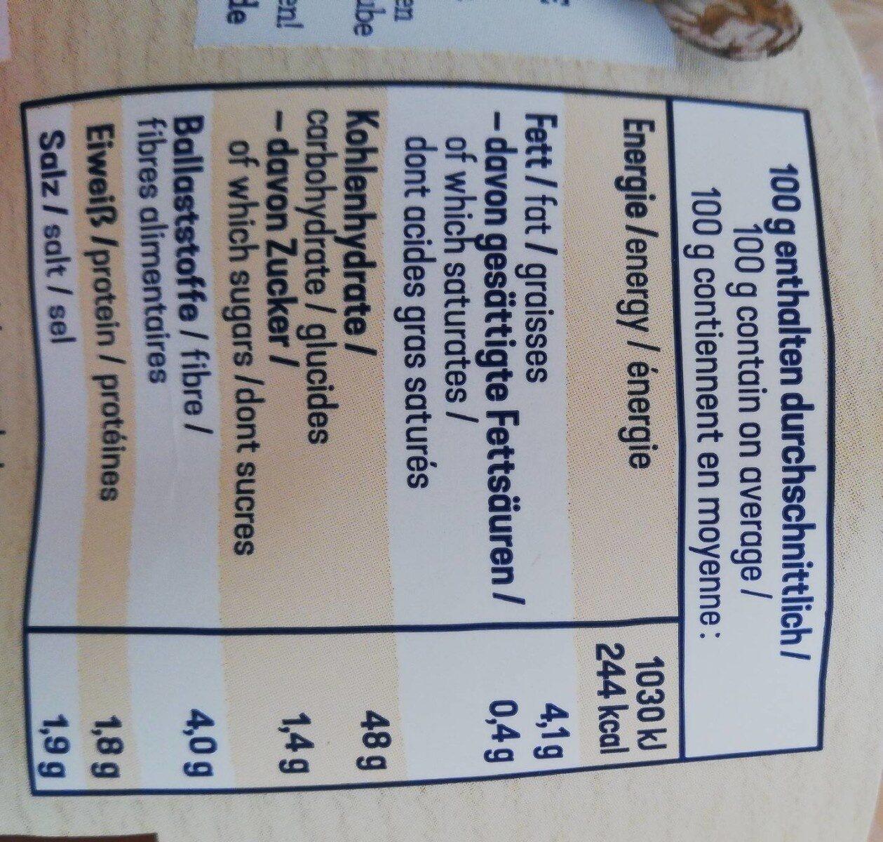 Laugenstangen glutenfrei - Nährwertangaben - de