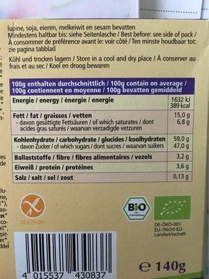 Dominosteine, Glutenfrei - Informations nutritionnelles - fr