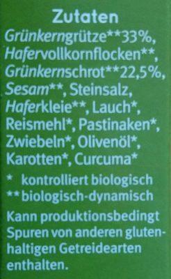 Grünkern Burger - Ingredients