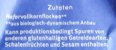 Haferflocken Zartblatt - Inhaltsstoffe - de