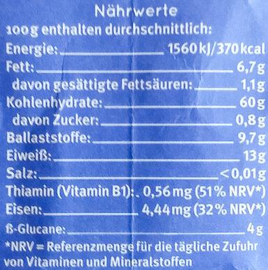 Haferflocken Zartblatt - Nährwertangaben - de
