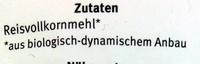 Reismehl Vollkorn - Zutaten - de