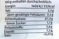 Reismehl Vollkorn - Nährwertangaben - de