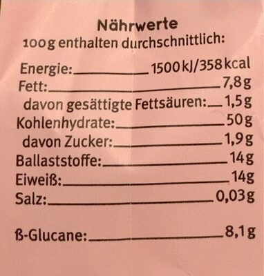 Hafer Kleie - Valori nutrizionali - de