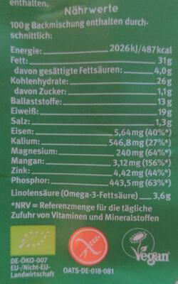 Wunderbrod - Valori nutrizionali - de