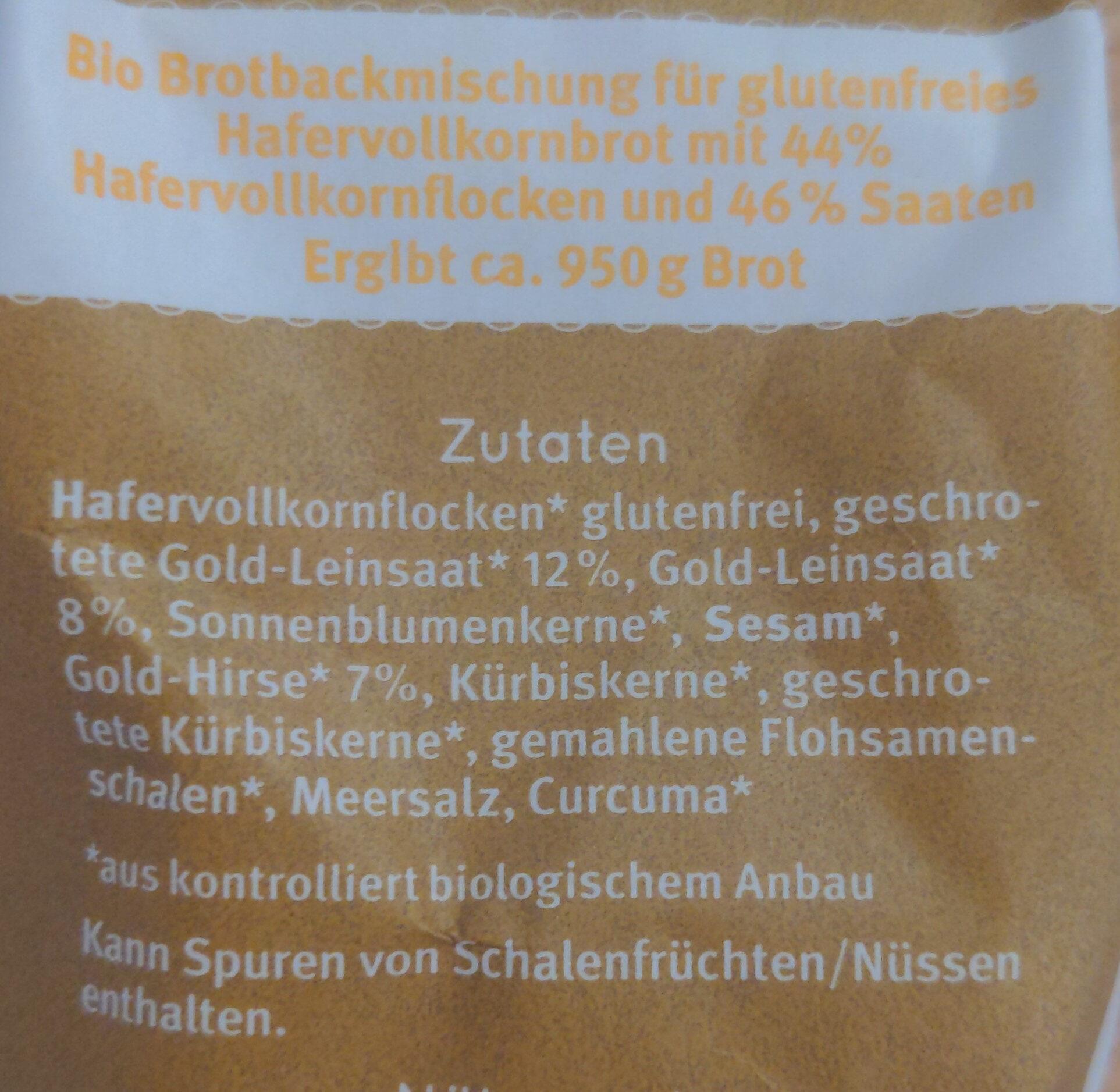 Bio Backbrotmischung for glutenfreies Hafervollkornbrot - Ingredienti - de