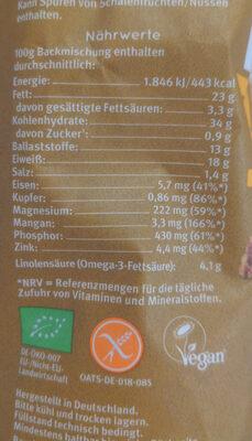 Bio Backbrotmischung for glutenfreies Hafervollkornbrot - Valori nutrizionali - de