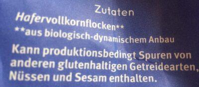 Haferflocken Großblatt Vollkorn - Ingredientes