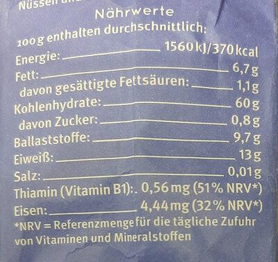 Haferflocken Großblatt Vollkorn - Información nutricional