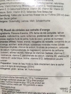 Muesli Énergétique au Peronin et Fruits - Ingredienti - fr
