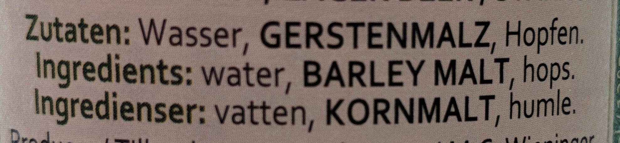 Höglwörther Festbier - Ingredients