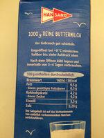 Reine Buttermilch - Zutaten - de