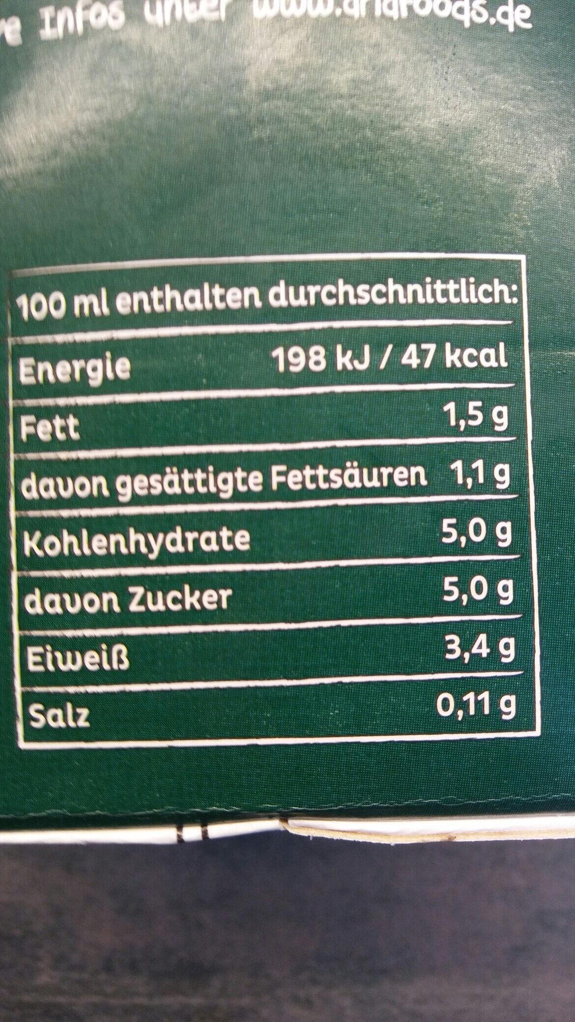 Frische Weidemilch🌳 1.5% Fett - Voedingswaarden - de