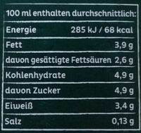 Frische Weide Milch 3,8% - Nährwertangaben - de