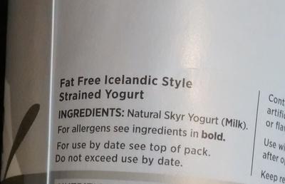 Skyr Icelandic Style Yoghurt - Ingredients - en