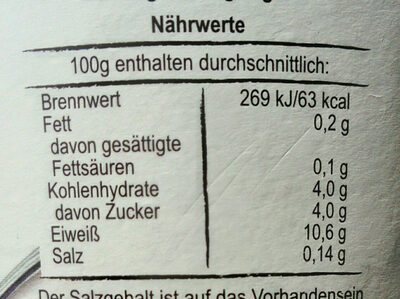 Skyr Natur - Nutrition facts - en