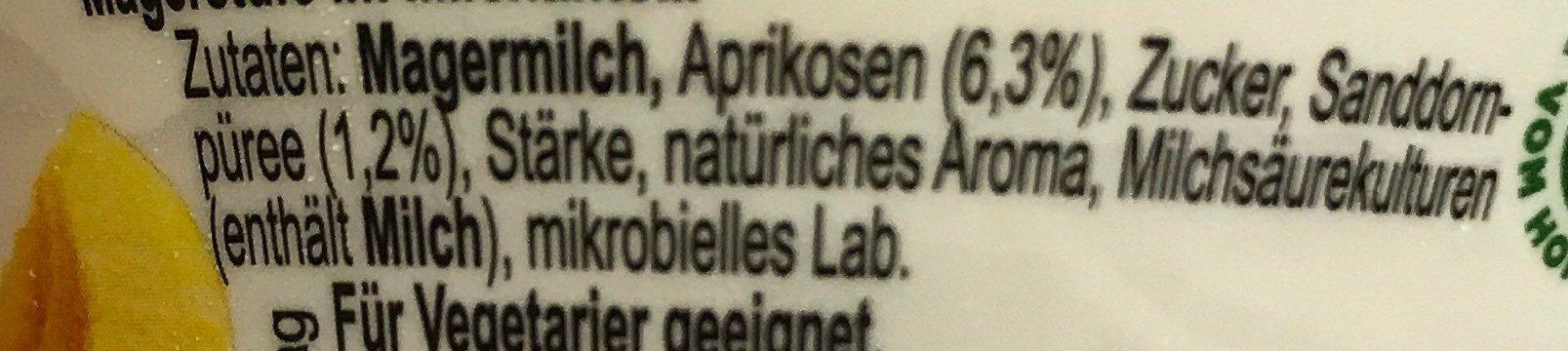 Skyr Aprikose-Sanddornbeere - Ingrédients