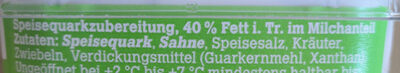 frija Kräuterquark 40% Fett i. Tr. - Inhaltsstoffe - de