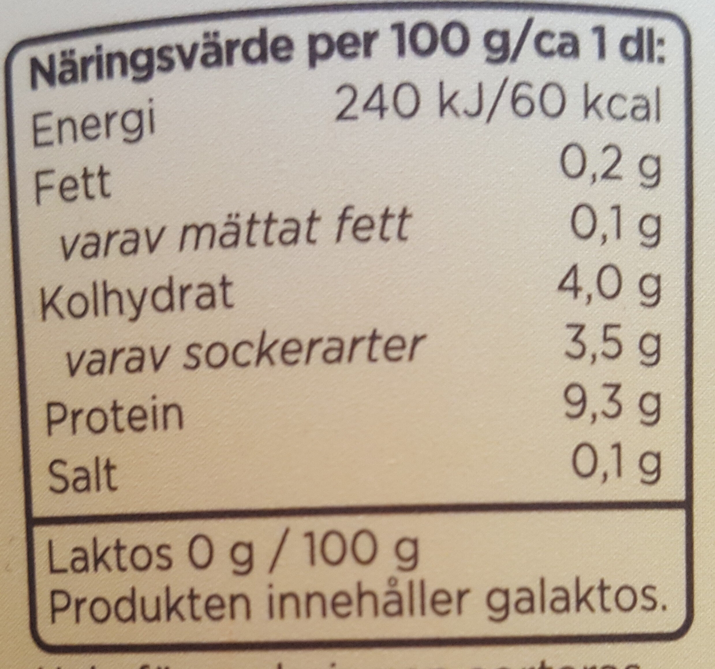 Mild kvarg vanilj - Nutrition facts