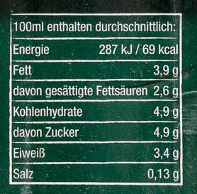 Bio Weide Milch haltbar 3,8 % Fett - Nutrition facts