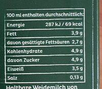 Arla Bio Weidemilch 3,8% Fett - Nährwertangaben - de