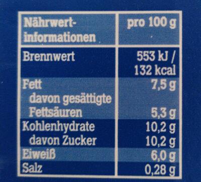 Kondensmilch 7.5% Fett - Nährwertangaben - de