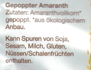 Flocken: Amaranth Poppkorn - Ingrédients - de