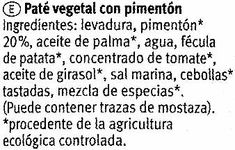 Paté vegetal ecológico Mexicana - Ingredients - es