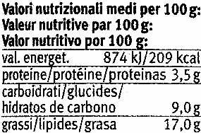 Paté vegetal ecológico Mexicana - Informació nutricional - es