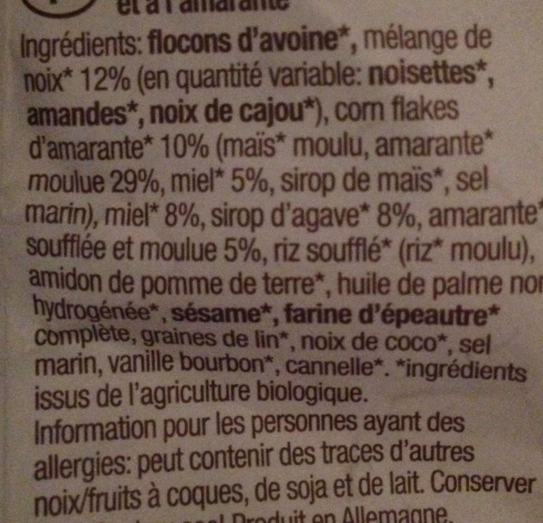 Amaranth crunchy edelnuss - Ingredients