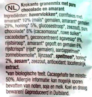 Amaranth crunchy schokolade - Ingrediënten