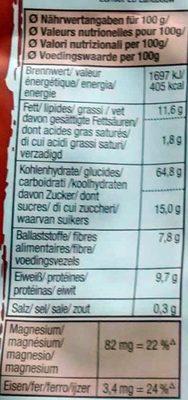 Amaranth crunchy schokolade - Voedingswaarden