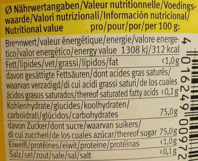 Agave Syrup - Nährwertangaben