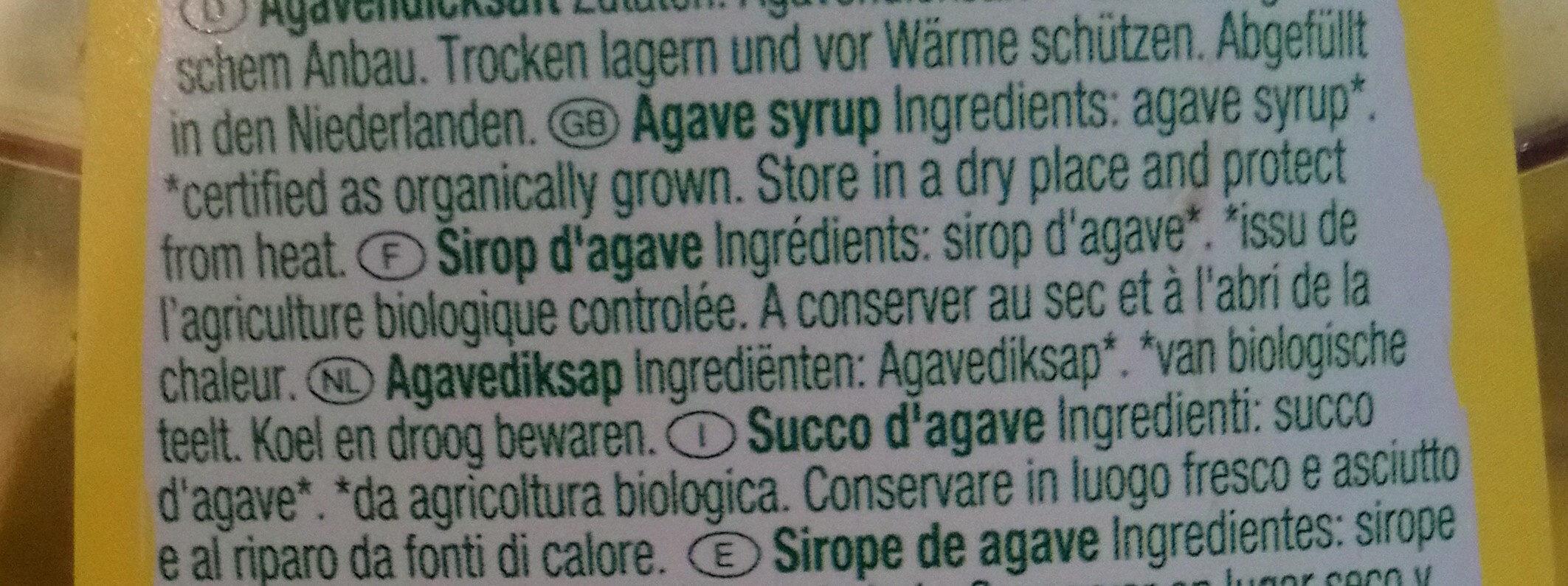Sirop d'agave pur - Ingrédients - fr