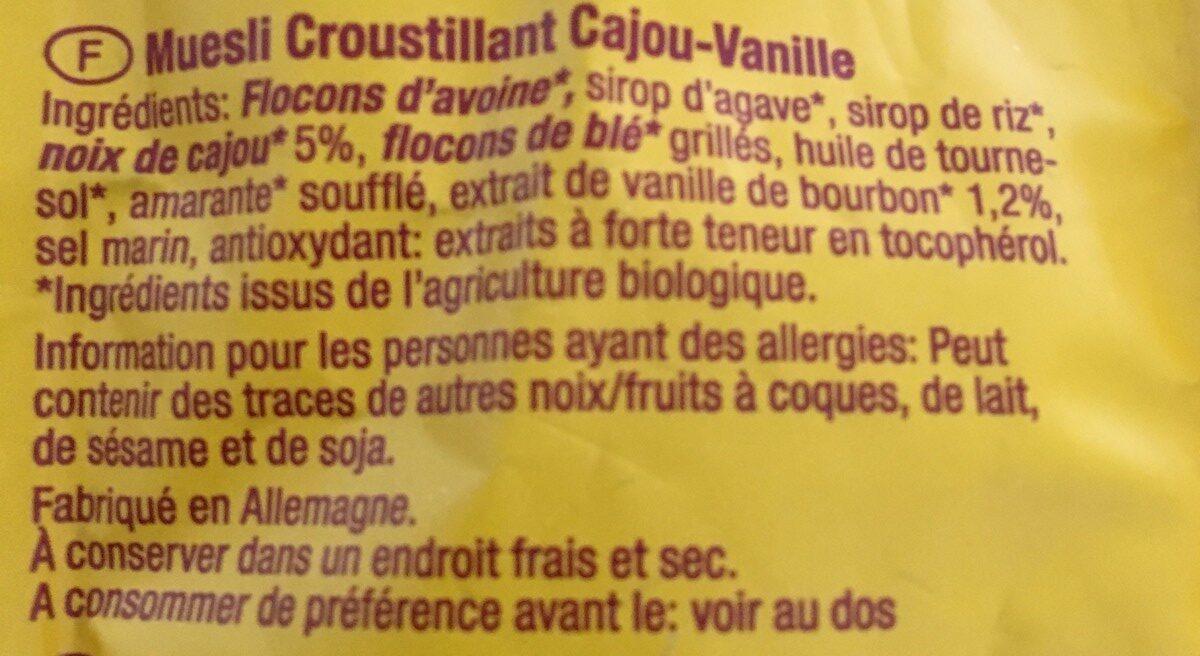 Muesli Croustillant Noix De Cajou & Vanille Bio - - Allos - Ingrédients - fr