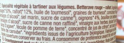 Farm vegetables Beetroot Horseradish spread - Ingredients - fr