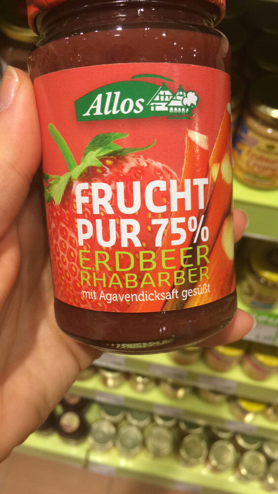 Allos Frucht Pur 75% Erdbeere-Rhabarber, 75% Fruchtanteil - Product