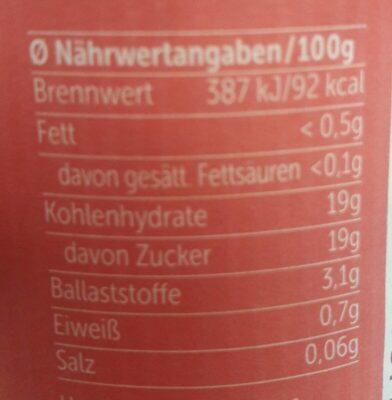 Allos Frucht Pur 75% Erdbeere-Rhabarber, 75% Fruchtanteil - Voedigswaarden
