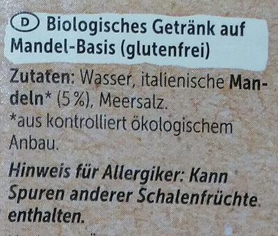 Mandel Drink Ungesüßt - Ingredients