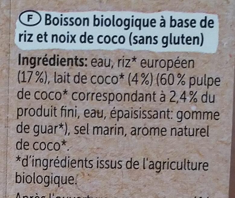 Reis-kokos Drink Naturell - Ingredients - fr