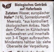 Hafermilch - Zutaten - de