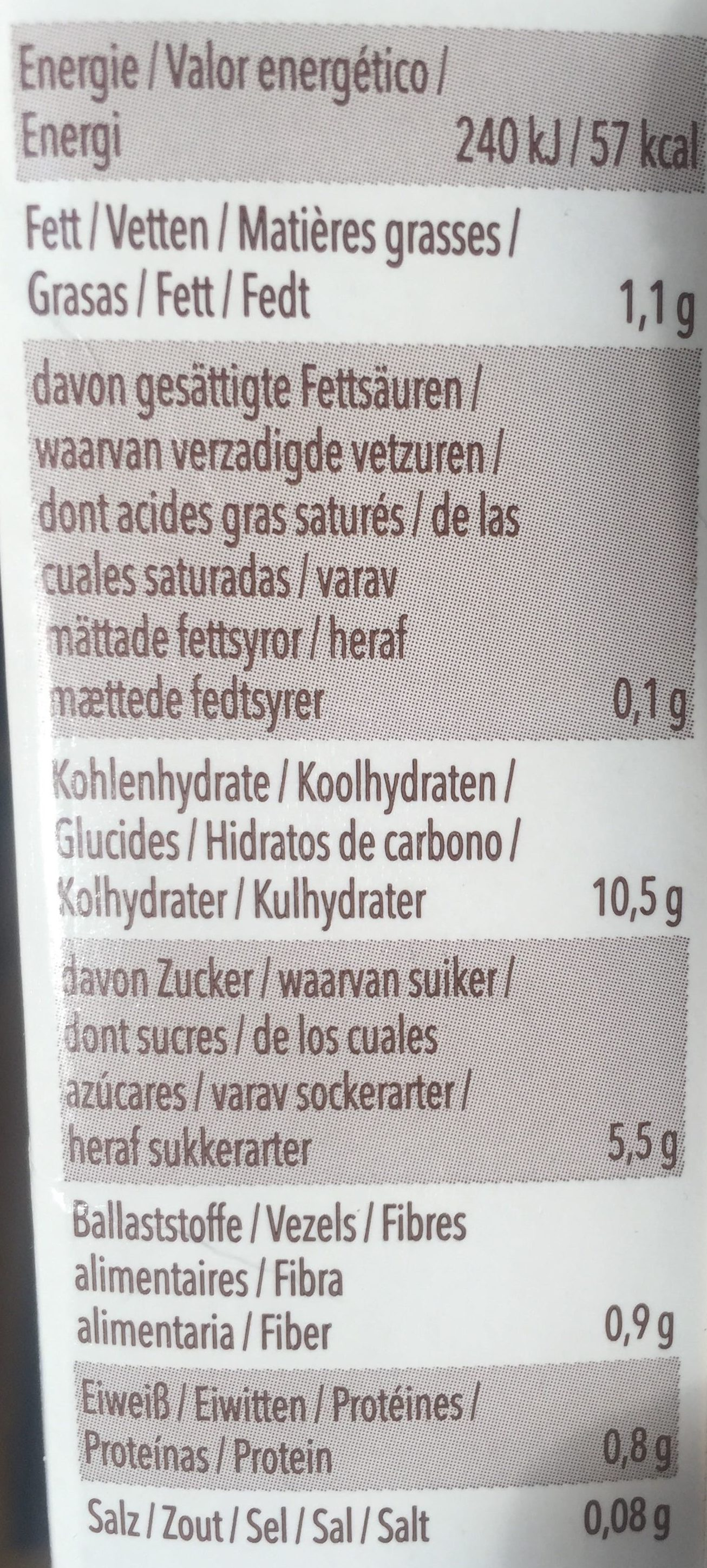 Dinkel Drink Naturell - Voedigswaarden