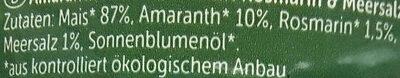 Galettes Maïs Amarante Au Romarin & Sel Marin Bio - - Allos - Ingredients - de