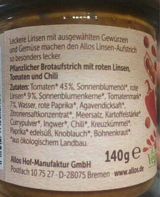 Linsen-aufstrich - Ingrédients