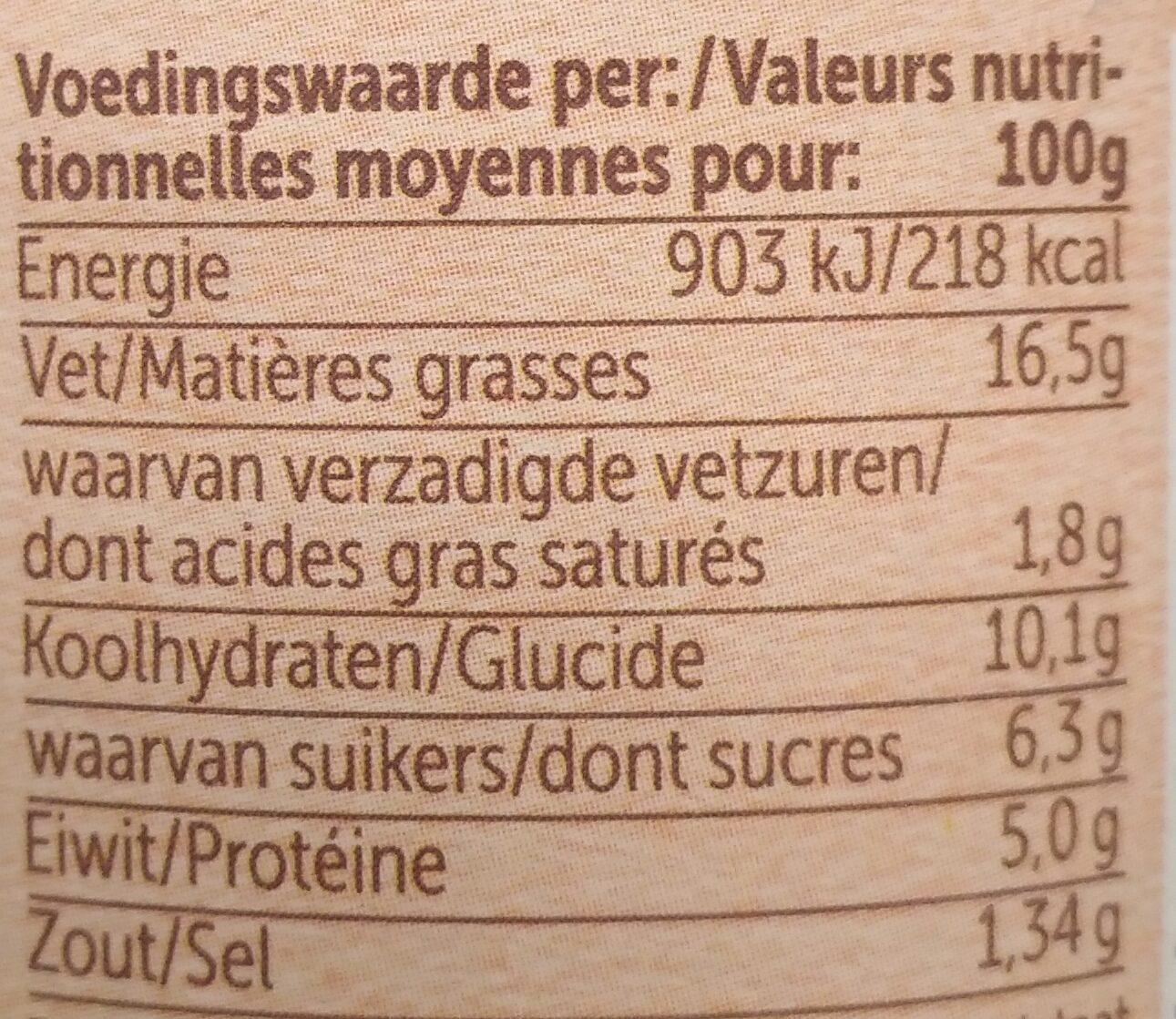 Pâte à tartiner aux lentilles - Voedingswaarden - nl