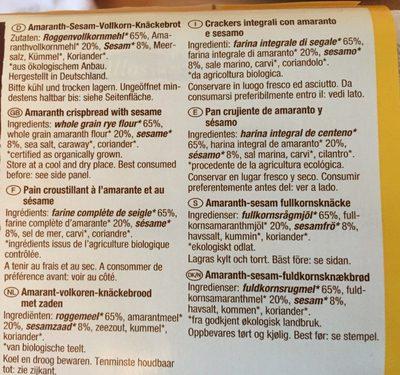 Pain Croustillant Amarante & Sésame - Ingredients