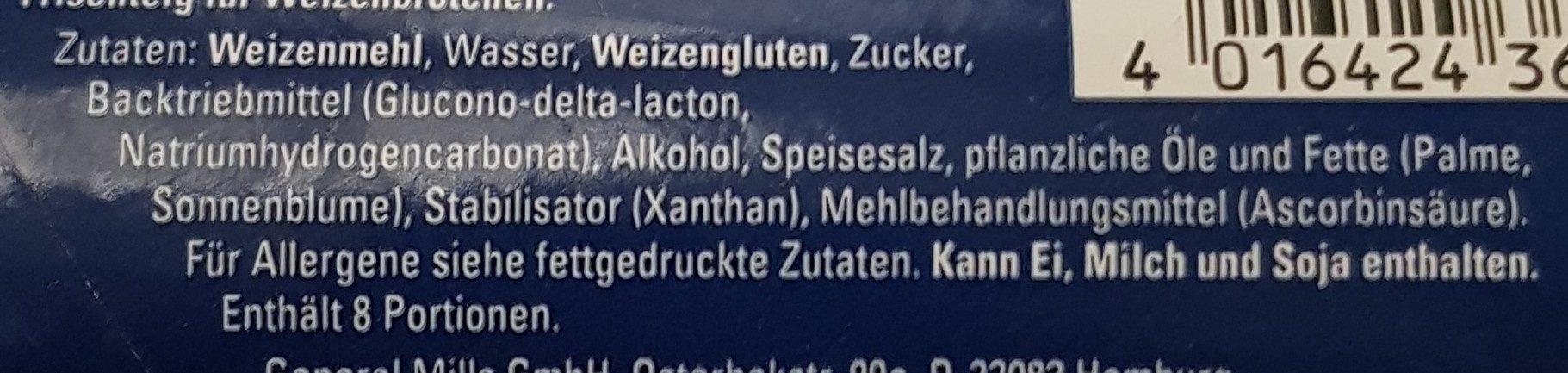 Sonntags Brötchen, Knack&Back - Zutaten - de